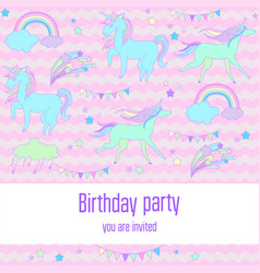 Bright birthday background with unicorns clouds vector