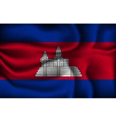 crumpled flag of Cambodia on a light background vector image vector image