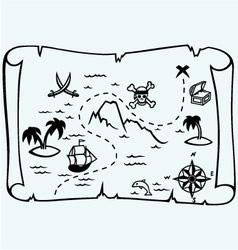 Island treasure map vector image vector image