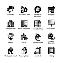 real estate glyph icons 9 vector image vector image