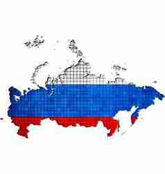 Russia map with flag inside vector