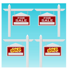 set of house for sale sign vector image