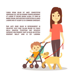 young mother with baby carriage kid and dog - vector image