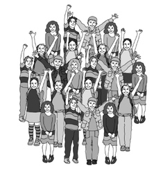 Big group of smiling happy children black and vector image