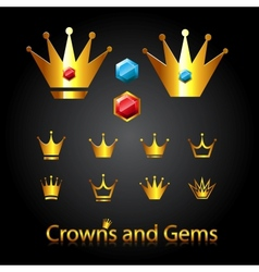 Crowns and gems vector image vector image