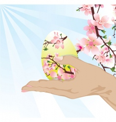 hand with Easter egg vector image vector image