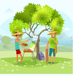 nature artist painting landscape vector image vector image