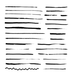 Set of grunge artistic brushes isolated on white vector image
