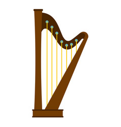 wooden harp icon isolated vector image