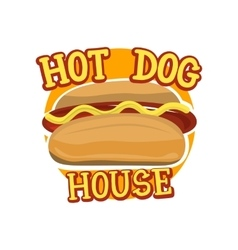Creative logo design with hot dog vector image vector image