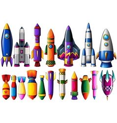 Different kind of rocket ships and bombs vector