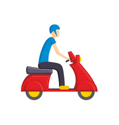 man on red scooter bike flat vector image vector image