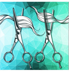 Steel tools for hairdressing scissors vector