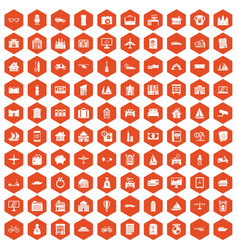 100 property icons hexagon orange vector image