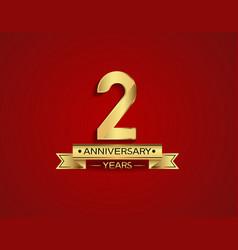 2 years anniversary golden design color vector