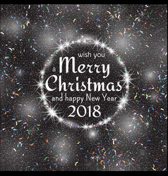 2018 white and black card with merry christmas vector
