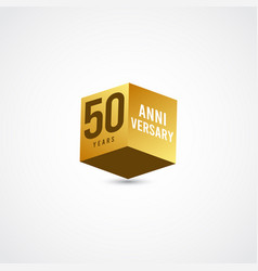 50 years anniversary celebration gold 3 d label vector