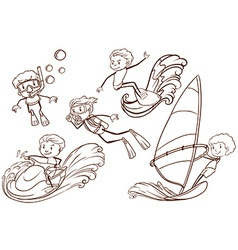 A simple sketch of people engaging in water sports vector