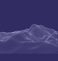 abstract mesh landscape cyberspace grid data vector image