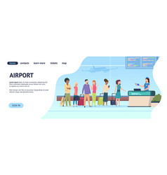 Airport landing page passenger terminal queue vector