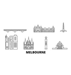 australia melbourne line travel skyline set vector image
