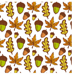 Autumn background seamless pattern with acorns vector