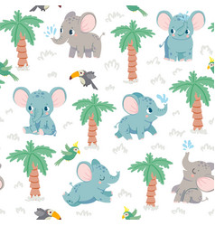 baby elephants seamless pattern cartoon elephants vector image