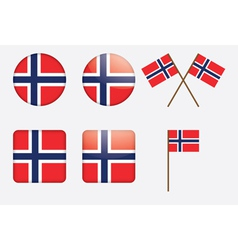 Badges with Norwegian flag vector