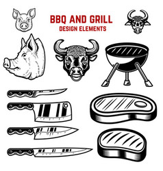 bbq and grill design elements design element vector image