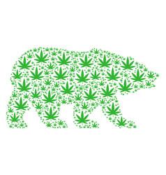 Bear collage of cannabis items vector