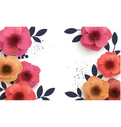 Beautiful background with paper flowers and place vector