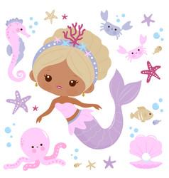 Beautiful mermaid and sea animals vector