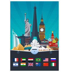Big collection of travel poster to country vecor vector