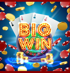 big win roulette casino signboard vector image
