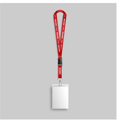 Blank white identity card lanyard hanging on red vector
