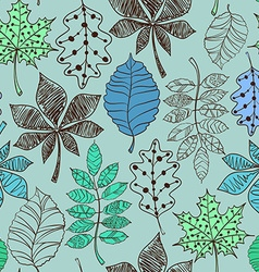 Blue Seamless Pattern Of Patterned Autumn Leaves vector