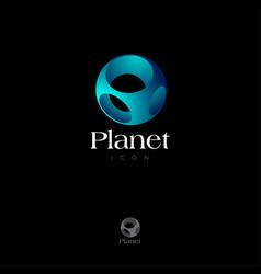 blue sphere logo planet impossible figure vector image