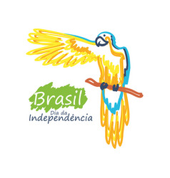 Brazil independence day with parrot vector