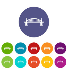 Bridge icons set flat vector