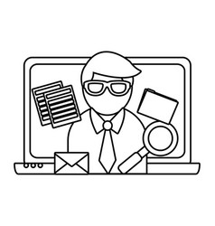 business and email in black and white vector image