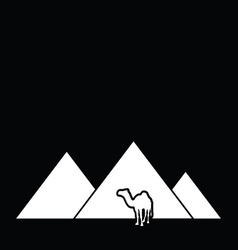Camel with pyramid desert vector