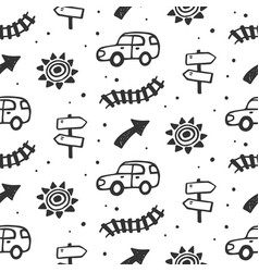 car travel route seamless pattern vector image