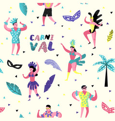 carnival seamless pattern with dancing people vector image