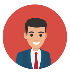 Cartoon businessman in suit portrait in circle vector
