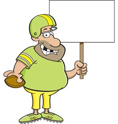 Cartoon football player holding a sign vector image