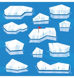 Cartoon Icebergs Set vector image