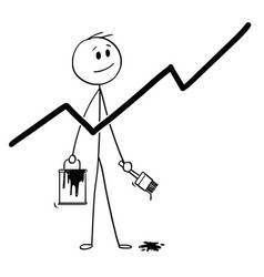 Cartoon of businessman with brush and paint can vector