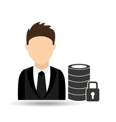 Character man with security database design vector
