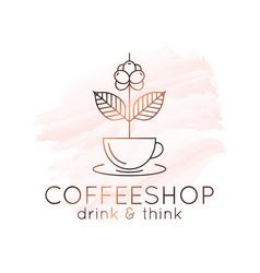 coffee cup watercolor logo branch concept vector image