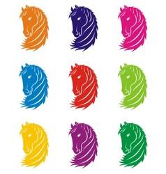 Coloured horse head vector